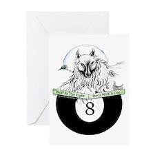 8 Ball Billiard Wolf Greeting Card