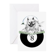 8 Ball Billiard Wolf Greeting Cards (Pk of 10)