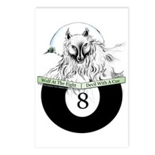 8 Ball Billiard Wolf Postcards (Package of 8)