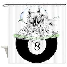 8 Ball Billiard Wolf Shower Curtain