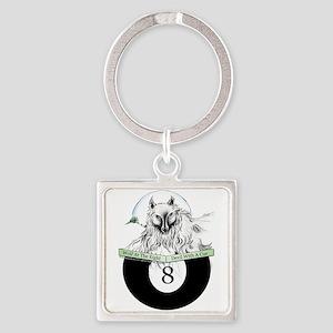 8 Ball Billiard Wolf Square Keychain