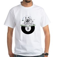 8 Ball Billiard Wolf White T-Shirt