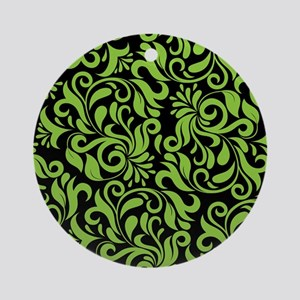 Black And Green Damask Round Ornament