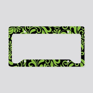 Black And Green Damask License Plate Holder