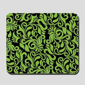 Black And Green Damask Mousepad