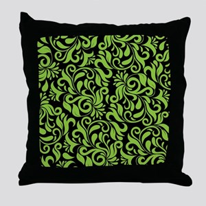 Black And Green Damask Throw Pillow