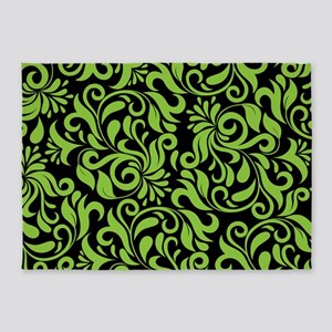 Black And Green Damask 5'x7'Area Rug