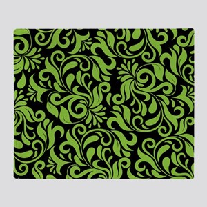 Black And Green Damask Throw Blanket