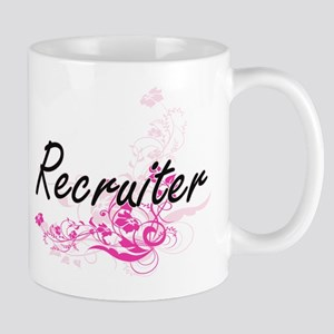 Recruiter Artistic Job Design with Flowers Mugs