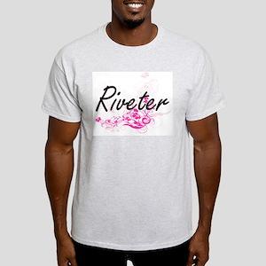 Riveter Artistic Job Design with Flowers T-Shirt