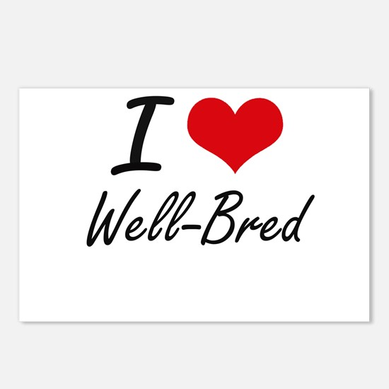 I love Well-Bred Postcards (Package of 8)