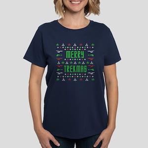 merry trekmas star trek ugly Women's Dark T-Shirt