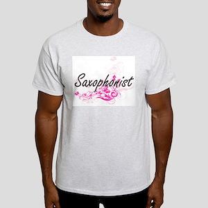 Saxophonist Artistic Job Design with Flowe T-Shirt