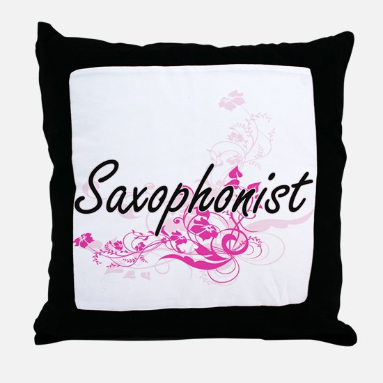 Saxophonist Artistic Job Design with Throw Pillow