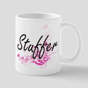 Stuffer Artistic Job Design with Flowers Mugs