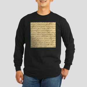 shabby chic french script Long Sleeve T-Shirt