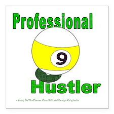 Pro 9 Ball Pool Hustler Square Car Magnet 3