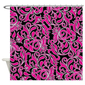 Pink Damask Shower Curtains