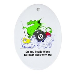 Cross Cues Pool Playing Dragon Oval Ornament