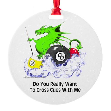 Cross Cues Pool Playing Dragon Ornament