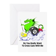 Dragon Playing Pool Greeting Cards (Pk of 20)