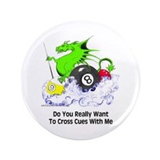 Cross Cues Pool Playing Dragon Button
