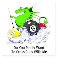 Dragon Playing Pool Square Car Magnet 3