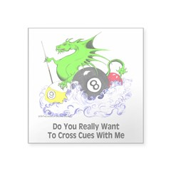 Dragon Playing Pool Square Sticker 3
