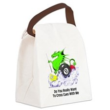 Cross Cues Pool Playing Dragon Canvas Lunch Bag
