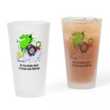 Cross Cues Pool Playing Dragon Drinking Glass