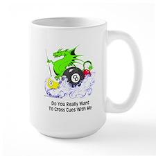 Cross Cues Pool Playing Dragon Large Mug