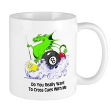 Cross Cues Pool Playing Dragon Mug