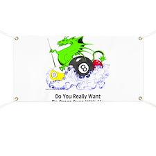 Cross Cues Pool Playing Dragon Banner