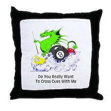 Cross Cues Pool Playing Dragon Throw Pillow