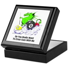 Cross Cues Pool Playing Dragon Keepsake Box