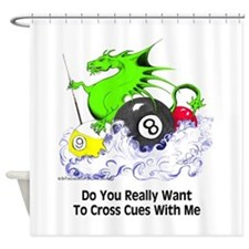 Cross Cues Pool Playing Dragon Shower Curtain