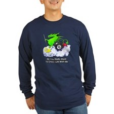 Dragon Playing Pool Long Sleeve Dark T-Shirt