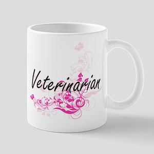 Veterinarian Artistic Job Design with Flowers Mugs