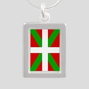 Basque Flag Silver Portrait Necklace Necklaces