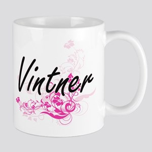 Vintner Artistic Job Design with Flowers Mugs