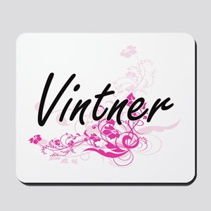 Vintner Artistic Job Design with Flowers Mousepad