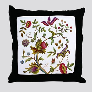 Tree of Life Jacobean Embroidery Throw Pillow