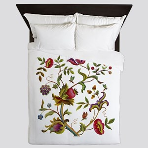 Tree of Life Jacobean Embroidery Queen Duvet