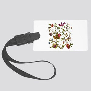 Tree of Life Jacobean Embroidery Large Luggage Tag