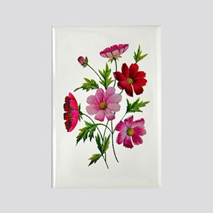 Embroidered Pink Cosmos Rectangle Magnet