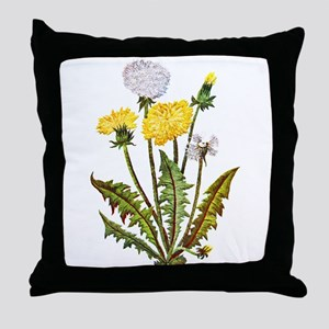 Embroidered Dandelions Throw Pillow
