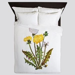 Embroidered Dandelions Queen Duvet