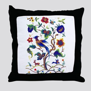 Bird of Paradise Jacobean Embroidery Throw Pillow