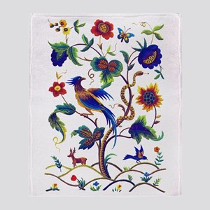 Bird of Paradise Jacobean Embroidery Throw Blanket