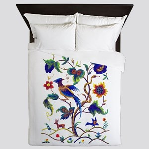 Bird of Paradise Jacobean Embroidery Queen Duvet